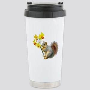 Squirrel Daffodils Stainless Steel Travel Mug